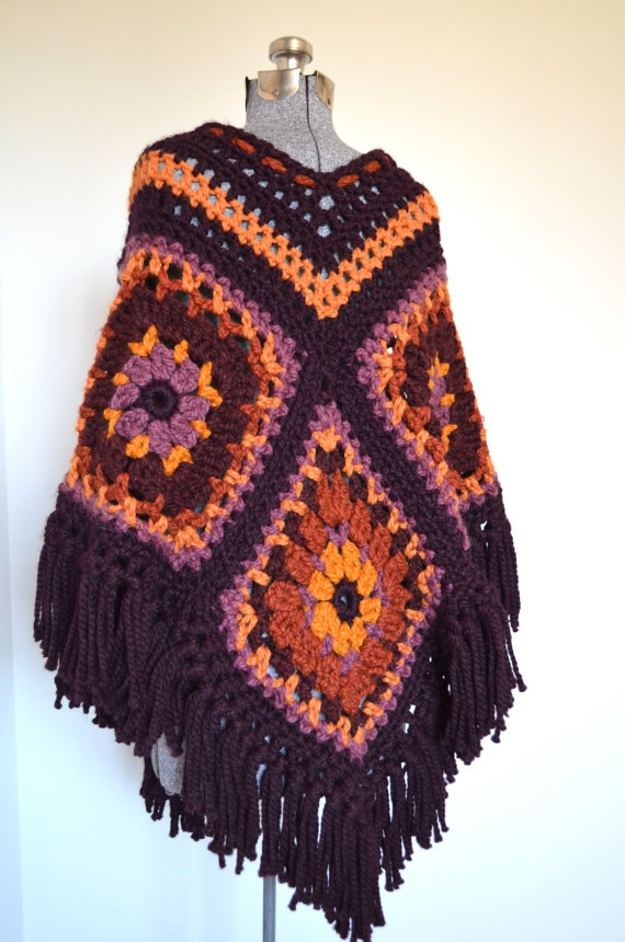 70s Crocheted Afghan PONCHO / Chunky GRANNY SQUARES by PicassoMuse