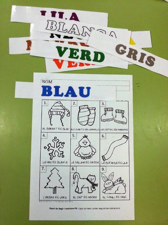 """tresquatreicinc: """"LLEGEIX I PINTA"""" Racó de llegir i escriure. Lectura de frases simples. P5"""