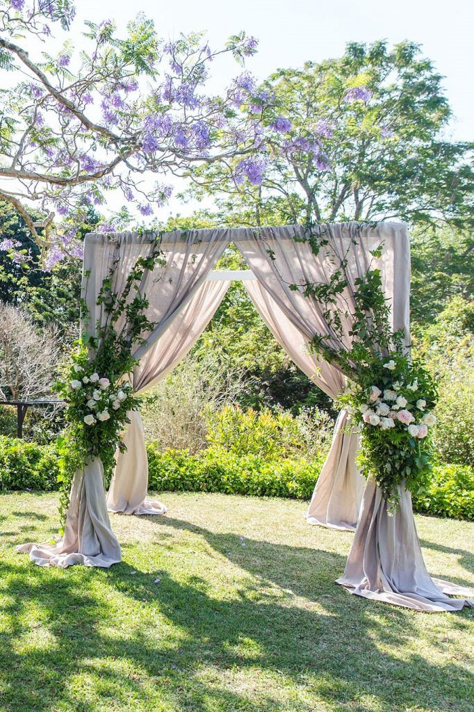 White Timber Canopy with Nude Drapes - Love Bird Weddings, Noosa Australia