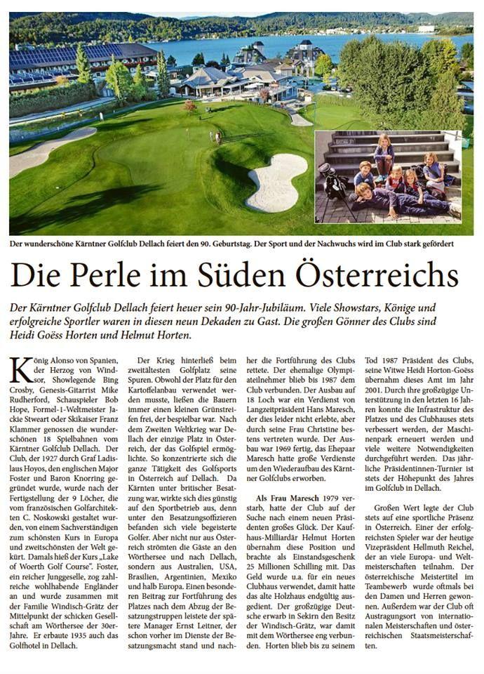 Schon gesehen? ⛳ Heute ist in der Kleinen Zeitung (Seite 33) ein schöner Artikel zu 🎉90 Jahre Kärntner Golfclub Dellach 🎉 erschienen. 😀 Wir freuen uns riesig! #Golfplatz #Wörthersee #kgc #kärnten #österreich #perle #süden #golf #golfen #golfplatz #grün #see #tradition #urlaub #holiday #sport