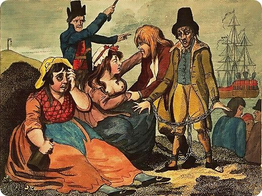 Black-eyed Sue and Sweet Poll of Plymouth, England mourning their lovers who are soon to be transported to Botany Bay, 1792