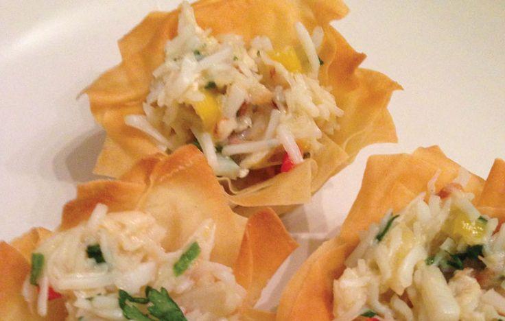 Filo crab tartlets