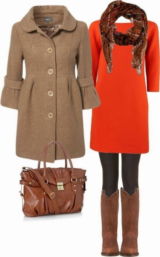 Adorable brown trench coat, red dress, leggings, scarf, long boots and handbag for fall