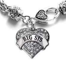 Big Sis Pave Heart Silver Charm Bracelet