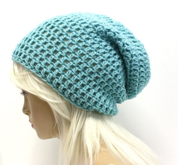 Aqua Blue Slouchy Beanie Hipster Hat Womens Slouch by Sweetbriers, $20.00