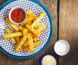 Polenta chips with parmesan, mayonnaise and tomato sauce