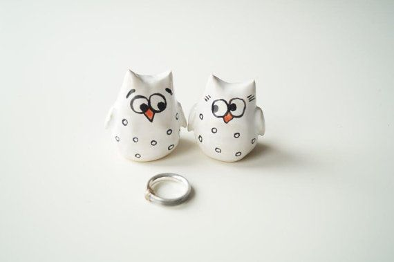 Owl Wedding Cake Topper, Ceramic Cake Topper,  Wedding Cake Decor, White Owl Ceramic Cake Topper by Her Moments