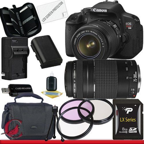 Canon EOS Rebel T4i Digital Camera with EF-S 18-55mm f/3.5-5.6 IS II & Canon EF 75-300mm f/4-5.6 III Telephoto Zoom Lens 8GB Package 1 by Canon. $1049.99. Package Contents:  1- Canon EOS Rebel T4i Digital Camera with EF-S 18-55mm f/3.5-5.6 IS II & Canon EF 75-300mm f/4-5.6 III Telephoto Zoom Lens with all supplied accessories 1- 8GB SDHC Class 10 Memory Card 1- Rapid External Ac/Dc Charger Kit   1- USB Memory Card Reader  1- Rechargeable Lithium Ion Replacement Battery  ...