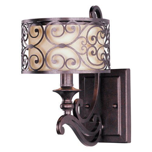 Maxim Lighting 21152WHUB Mondrian 1-Light Wall Sconce, Umber Bronze Finish with Off-White Fabric Shade by Maxim Lighting. Save 27 Off!. $90.00. From the Manufacturer                Light Bulb:(1)60w B10 Cand F Incand Mondrian Wall Sconce. The Mediterranean inspired Mondrian collection features a forged-iron frame finished in Umber Bronze. The warm glow emitted through the delicate pattern of the metal silhouette gently radiates through the off-white fabric shades to create a...