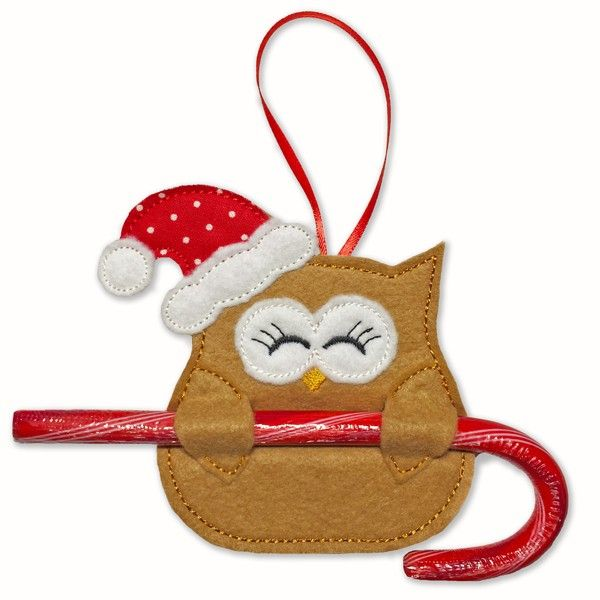"""Santa Owl Candy Cane Holders - Stitch up a nest full of adorable Santa Owl Candy Cane Holders! This little sweetie has specially designed openings in her wings to slide a candy cane through, and a ribbon loop let's you hang her on your Christmas tree. There's room on her tummy so you can add a fun touch by personalizing them with your embroidery software or embroidery machine.  Hoop Size: 4x4 Design Size: 3.81"""" x 3.85"""" Stitch Count: 2,135  Supplies n..."""
