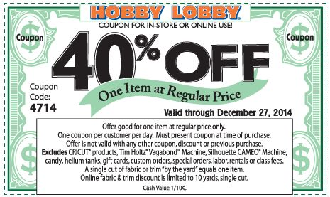 Pinned December 27th: 40% off a single item at Hobby #Lobby, or online via promo code 4714 #coupon via The #Coupons App