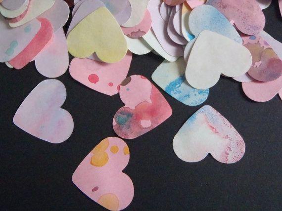 300 cuori coriandoli acquerello nozze matrimonio decorazione tavola scrapbooking decoupage ooak libro ospiti rosa lilla lasoffittadiste
