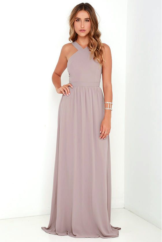 Grey Chiffon Long Bridesmaid Dress  959d9c98d
