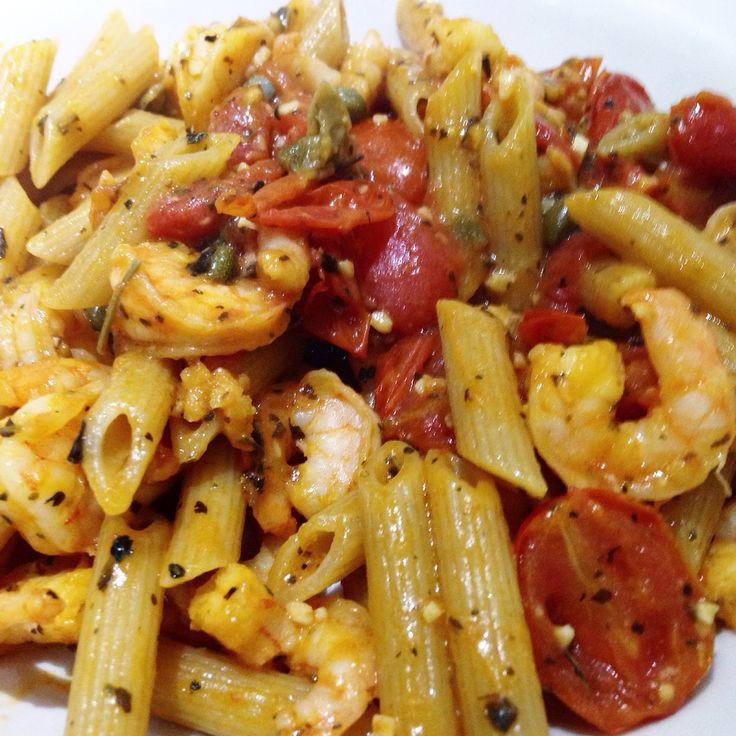 Pennete Rigate Integrale com molho picante de camarão (Buffalo Shrimp) 11.03.15