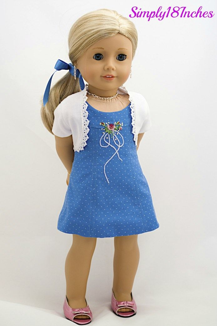 American Girl Embroidered Dress and Bolero Ensemble coming soon to my Etsy Shop.  www.etsy.com/shop/Simply18Inches