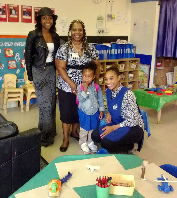 It may be a rainy day outside but there are warm smiles inside at our Katherine Bruce Nursery in Kensal Rise. Here is a photo of the Manager Yvonne (centre), practitioner, parent and child - the nursery team are proud to work in partnership with parents.