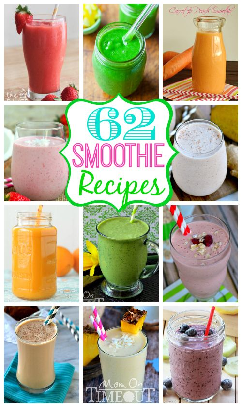 Break out your blender and whip up one of these 62 Smoothie Recipes to kick-start your day! | MomOnTimeout.com