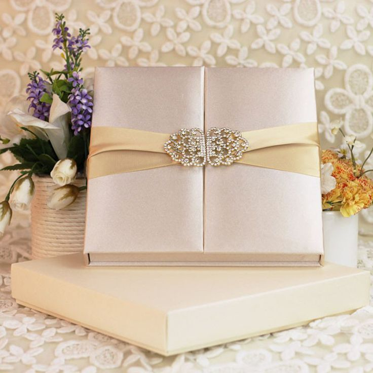 box wedding invitations online%0A Luxury Big Rhinestone Buckle Square Ivory Silk Box Wedding Invitation