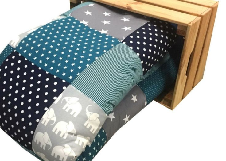 Krabbeldecken - Krabbeldecke Babydecke Elefant petrol blau - ein Designerstück von babrause bei DaWanda