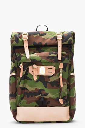 MASTER-PIECE Co Green camouflage and brown leather Surpass backpack