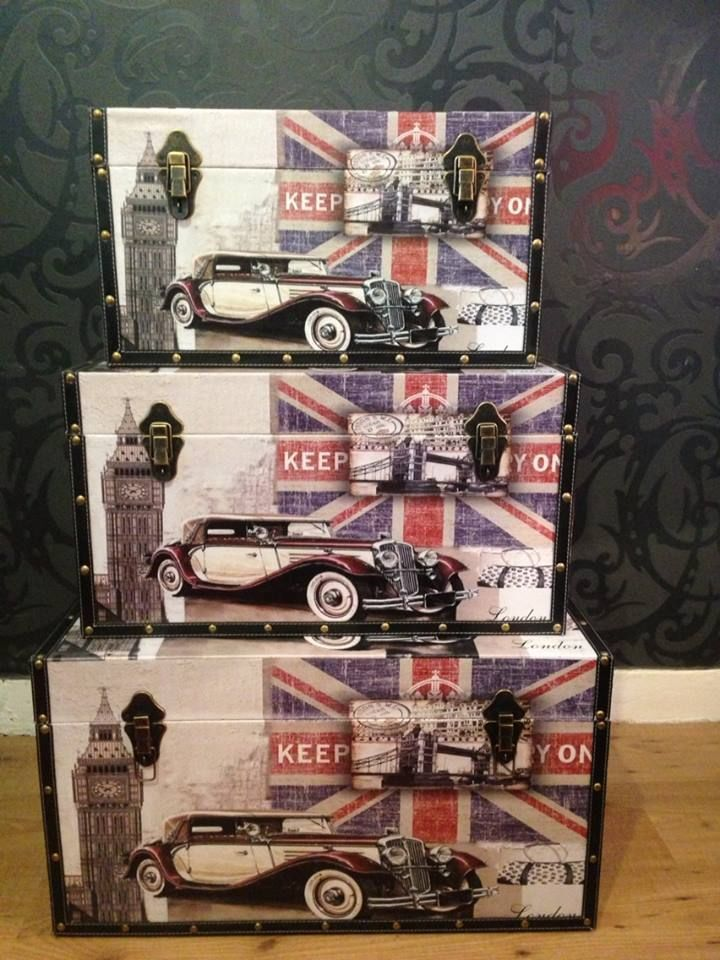 SET OF 3 LONDON COLLECTION-STORAGE-TRUNKS-STORAGE-CASES
