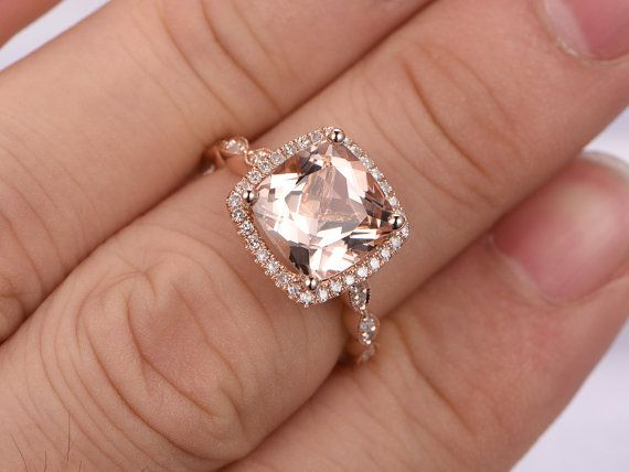 Gemstone can be replaced with other birthstone.  Material: Solid 14k Gold( White/Rose/Yellow gold available,14 &18k available)  Bottom Band Width: approx 2.2mm  Main stone: 8x8mm Cushion Cut Natural Pink Morganite, VS Clarity  Accent Stones: 0.32ct Round Cut Natural Conflict Free Diamonds,SI Clarity,H color  Cut: Very-Good  Setting: Prong,pave  Fit: Comfortable  ------ {Our custom service}:  Have your own design?Welcome any kinds of custom order. Send us the design and well make the exact…