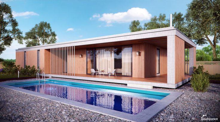 Тренд-102 Проект современного удобного одноэтажного дома с камином на террасе