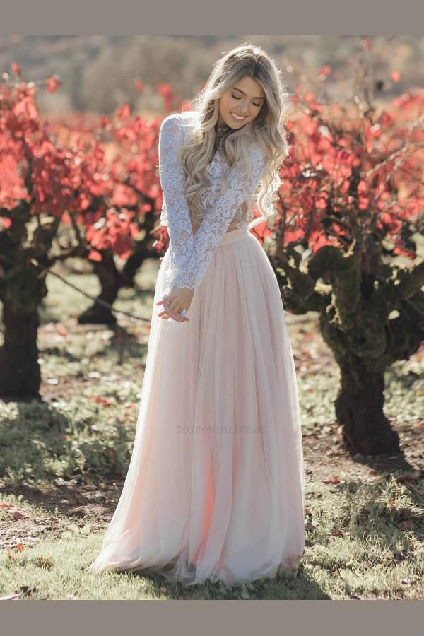 27b9f3f48e183 Wedding Dresses Two Piece, Long Sleeves Wedding Dresses, Blush Wedding  Dresses, Pink Wedding Dresses, Lace Wedding Dresses #LaceWeddingDresses ...