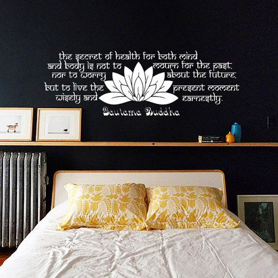 The secret of health Buddha Quote Yoga Lotus Flower Decals Wall Decal Vinyl Sticker Wall Decor Home Interior Design Art Mural