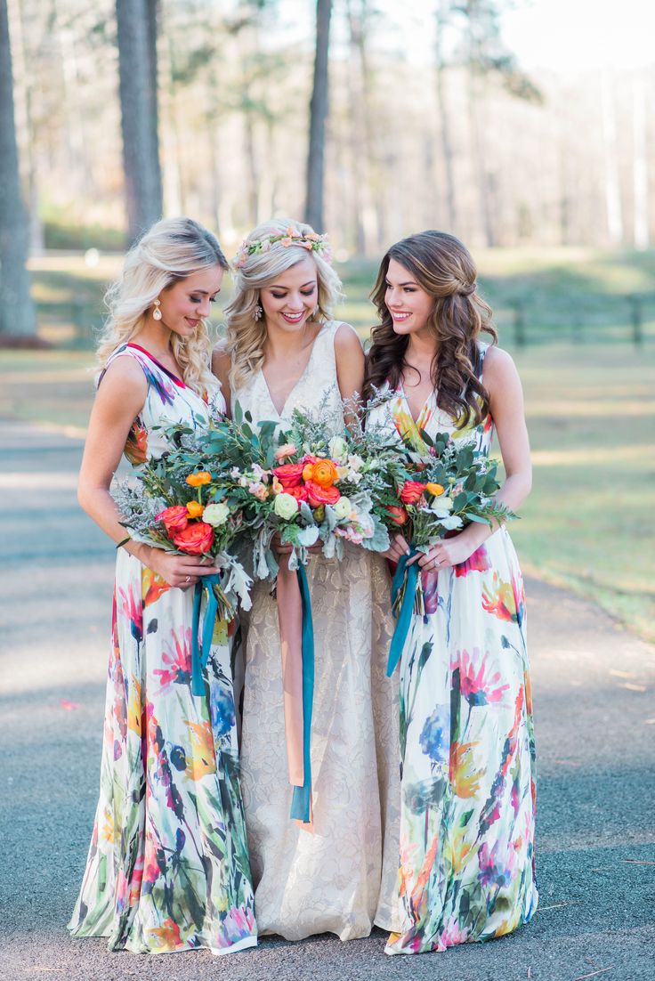 Vibrant bouquets and long floral print dresses
