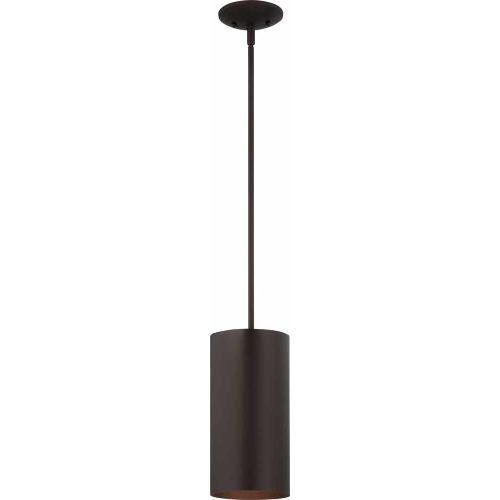 "Volume Lighting V9606 1 Light Outdoor 12"" Height Pendant with Metal Cylinder Sha, Antique Bronze"
