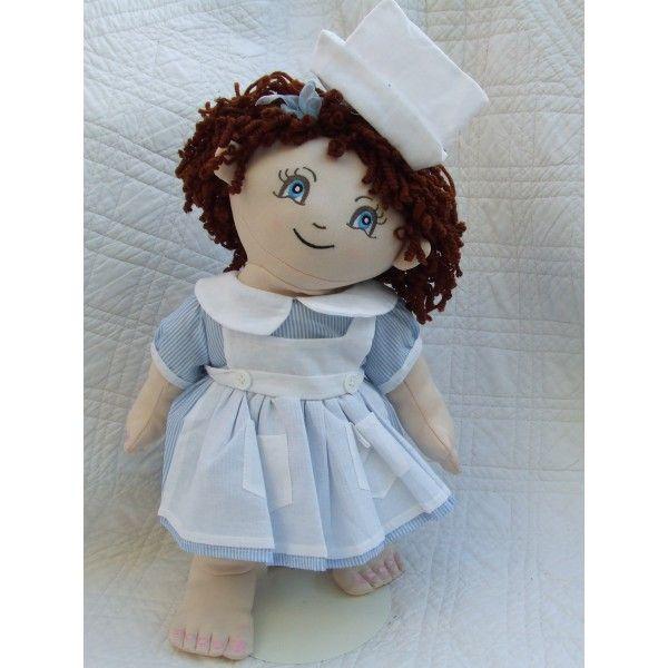 """Cuddly 18"""" Rag Doll In Nurse Outfit"""