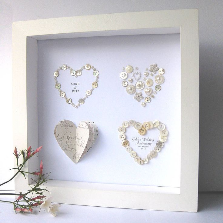 Personalised Golden Wedding Anniversary Art