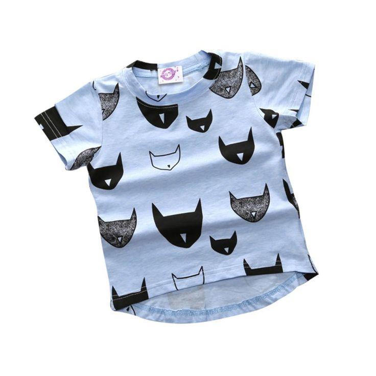 2017 Merek Baru Musim Panas Anak-anak T-shirt 100% Katun Jersey Allover Cat Print Lengan Pendek Anak Laki-laki Bayi Perempuan T-shirt YR