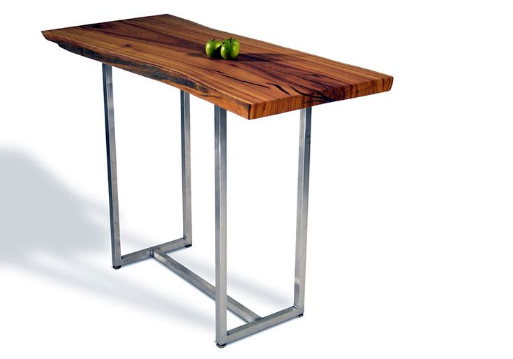 This tall bar table features a live edge top of sustainably harvested osage orange with hand-rubbed linseed oil finish. Aluminum base.