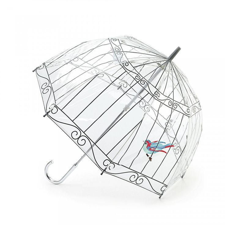 Birdcage Umbrella: What better way to get rid of those dark clouds than by carrying a beautiful Birdcage Umbrella? Inspiration was taken from Lulu's Birdcage collectable handbag. This umbrella is transparent pvc with grey birdcage and intricately printed birds. - Visit Lulu Guinness at http://www.luluguinness.com/