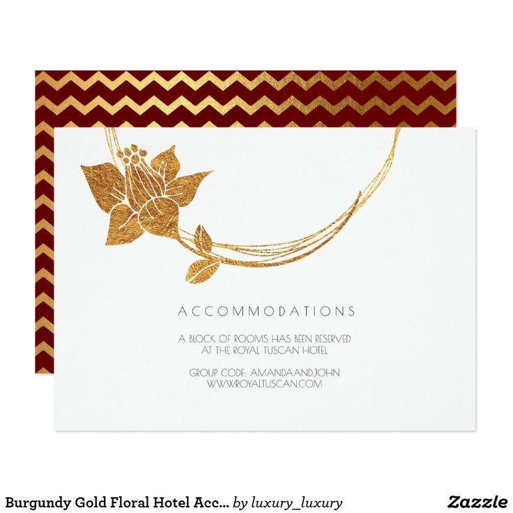 Burgundy Gold Floral Hotel Accommodation Chevron Card
