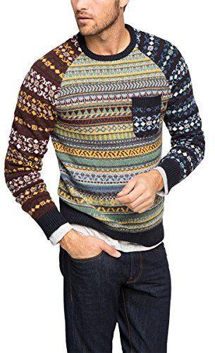 ESPRIT Men's 105EE2I006 CNK Pattern Mix Striped Long Sleeve Jumper