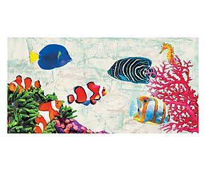 Stampa fine art su canvas con telaio in legno Tropical Peaple - 100x50x4 cm