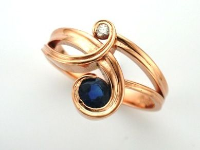 'ALASKA' --  Stunning Swirls of Rose Gold in this Unsual Ring set with Sapphire & Diamond  Custom made in 14ct Rose Gold for a Special Birthday