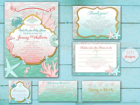 best mermaid invitations images on   mermaid, Baby shower