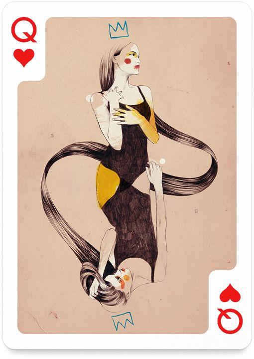 Queen of Hearts by Conrad Roset - http://playingarts.com/cards/conrad-roset/