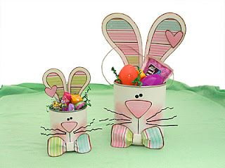 repurpose cans and use some cute scrapbook paper to create these funny bunnies.  good idea for Easter tablecards placesettings!