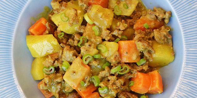 Utrolig god hverdagsret med kartofler og hakket oksekød i en forrygende cremet sovs.