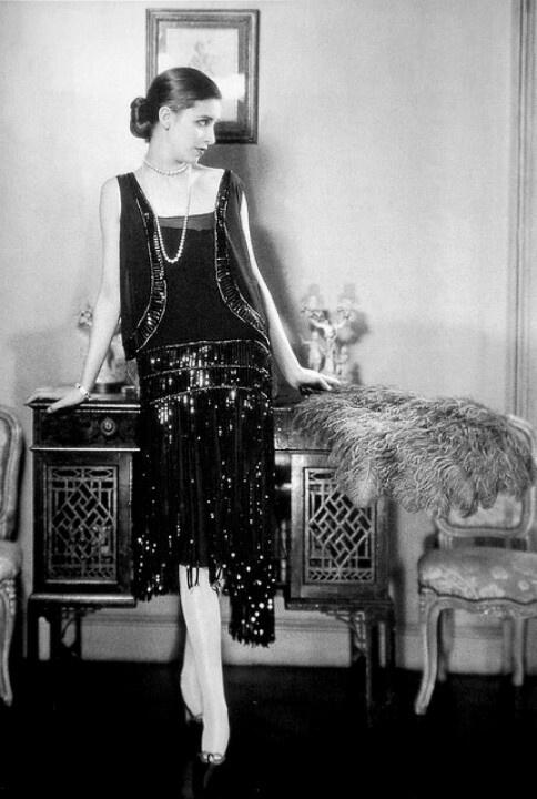 Marion Morehouse In Chanel Crepe Romain Flapper Dress