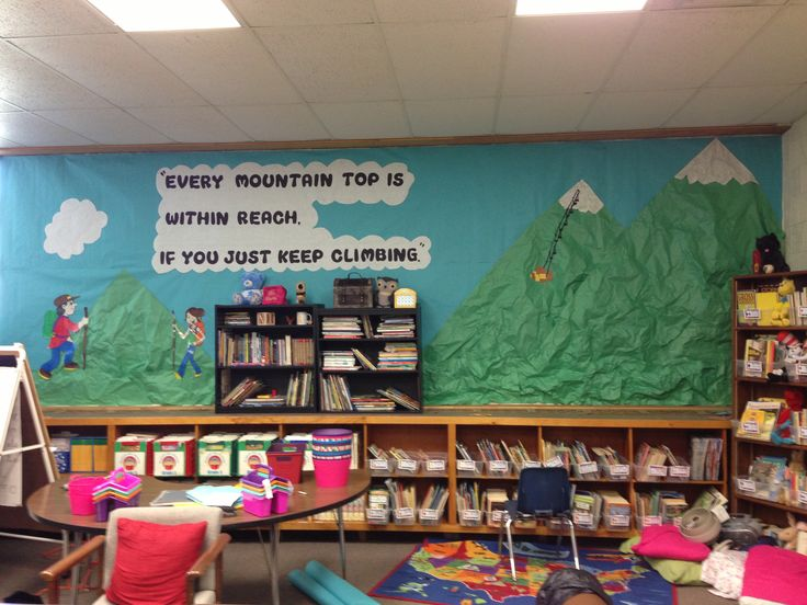Mountain theme mural classroom decorations pinterest for Classroom mural