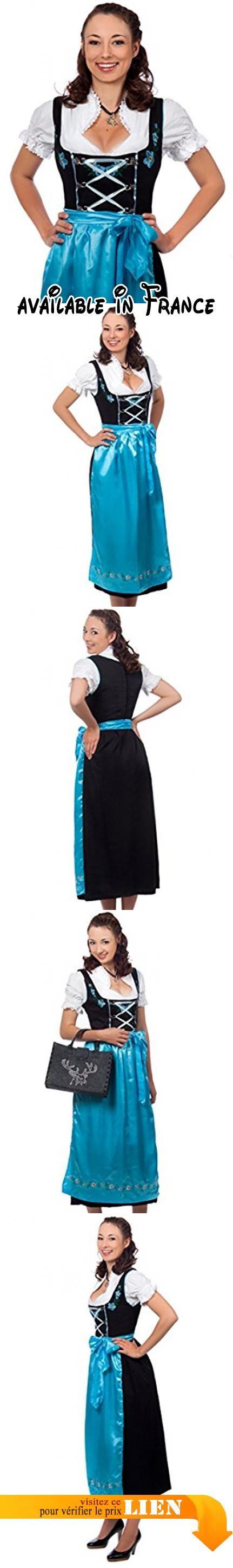 Edelnice Trachtenmode Costume folklorique Dirndl 3pièces avec robe noir et bleu et chemisier et tablier assortis tailles 32 à 52 -  bleu - 44.  #Apparel #DRESS