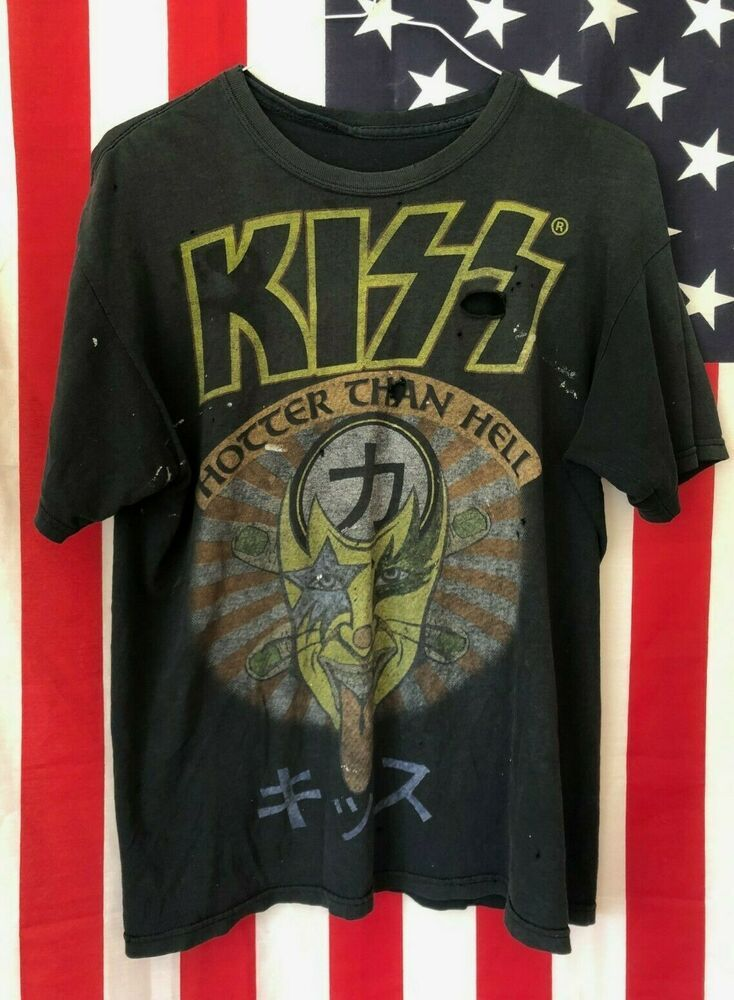 143659b1e Authentic Rare KISS Hotter Than Hell Vintage Faded Black Band Tee Shirt  Size L #fashion #clothing #shoes #accessories #vintage #mensvintageclothing  (ebay ...