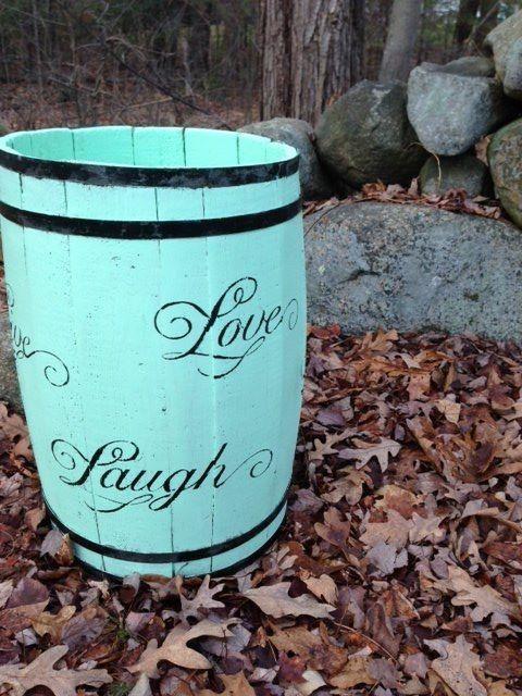 "Painted antique barrel "" love laugh live""- ubfurnishings"
