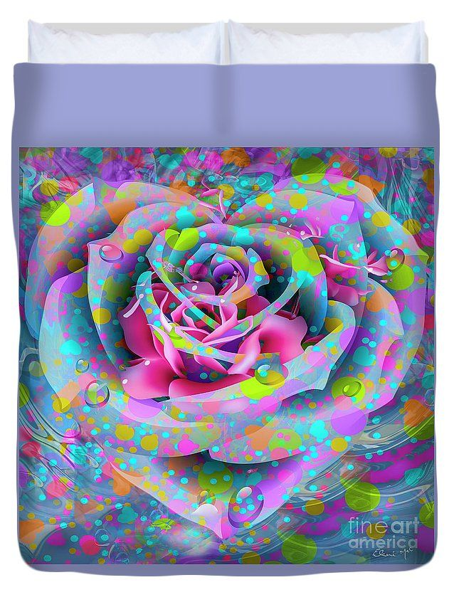 Petals Duvet Cover featuring the digital art Rose by Eleni Mac Synodinos